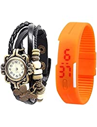 Jack Klein Combo Of Leather And Silicone Strap Analog And Digital Wrist Watches For Men, Women - B01FVYO49M