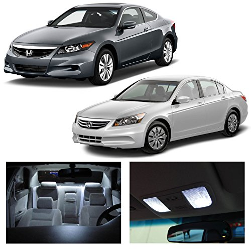 LEDpartsNow Honda Accord 2003-2012 Xenon White Premium LED Interior Lights Package Kit (12 Pieces)
