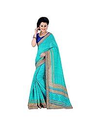 Aqua Green And Blue Spun Silk Party Wear Saree
