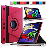 Infiland Lenovo A10 Tab 2 10.1-Inch Tablet Case Cover - Premium Vegan Leather 360 Degree Rotating Swivel Stand for Lenovo Tab 2 A10-70 / A10-70F 10.1-Inch Android Tablet(with Dual Auto Sleep/Wake Feature)(Magenta)