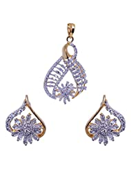 Gehna American Diamond Studded Pendant & Earrings Set Made In Silver Alloyed Metal