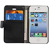 IPhone 4S Wallet Case, ARMOR Leather Slim Flip Cover Case With Magnetic Closure -Black