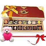 Valentine Chocholik Premium Gifts - Surprise Of Dark And White Chocolates With Teddy