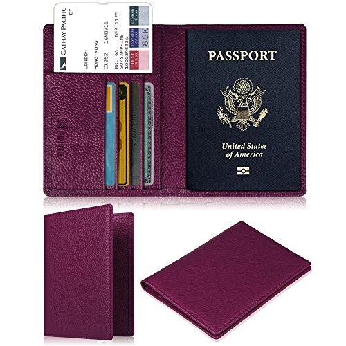 Fintie Porte-passeport Housse - Voyage Protecteur Porte-feuille Pochette étui de protection pour passeport, Pourpre
