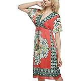 Women Summer Deep V-Neck Print Cover Up Beach Dress