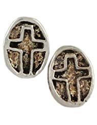 Christianity Cross Shape Silver Stud Earring
