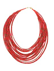 Young & Forever Red Bohemia Beads Multilayer Designer Necklace For Women By CrazeeMania