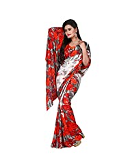 Sonal Trendz White & Red Color Georgette Saree