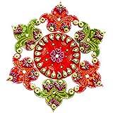 Decorative Handmade Rangoli Kundan Work (Green And Red)
