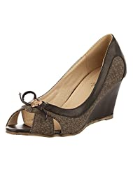 Vero Couture Women's Hearty Bow Wedges Black PU-Suede