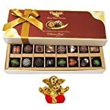 Chocholik Belgium Chocolates - Amazing Combination Of 8 Dark And 8 Milk Chocolate Box With Small Ganesha Idol...