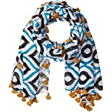 San Diego Hat Company Women's Scarf With All Over Print And Fringe Tassels, Black/White, One Size