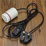 Generic 1.8M Reptile Ceramic Emitter Heating Lighting Lamp Bulb Holder Switch US/UK Plug-uk Plug