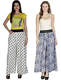 Shoping Fever - Designer And Stylish Womens Plazzo - Combo Pack (Animal Colour And Polka Dots) - White And Blue