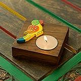 ExclusiveLane Hand-Painted Parrot Tea-Light Holder In Sheesham Wood