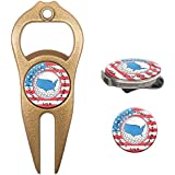 Hat Trick Openers 6-in-1 Golf Divot Tool Hat Clip Set With USA Logo Gold