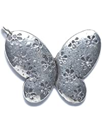 Shipwreck Beads Zinc Alloy Butterfly With Flowers Pendant, 38 By 44mm, Silver, 10-Pack