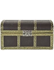 Pushpa Overseas Synthatic Leather Brass Coated Jewellery Box (18 Cm X 13 Cm X 9 Cm, Brown)