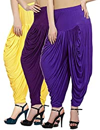 Fashion And Freedom Women's Pack Of 3 Yellow, Purple And Violet Lycra Base Viscose Dhoti