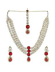 Shining Diva Wonderful Antique Necklace Set With Maang Tika