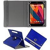 KOKO ROTATING 360° LEATHER FLIP CASE FOR Datawind UbiSlate 3G7 TABLET STAND COVER HOLDER BLUE