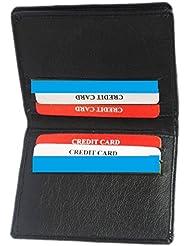 Star Leather Genuine Soft Black Leather Credit Card Holder Wallet - [10 Cards] - BLACK - AMZSL563M New