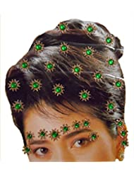 DollsofIndia Golden And Green Color Stone Studded Stick-on Hair, Forehead And Ear Decoration For Brides (Can Be...