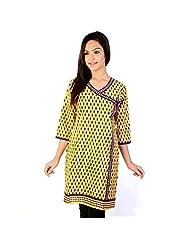 Jaipur RagaEthnic Girls Designer Laced Yellow Cotton Kurti Rajasthani Kurti
