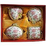Salvus App SOLUTIONS Porcelain Pink Flower Different Shape Kumkum/Sindoor Box Set