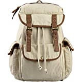 WindFeel Vintage Canvas Bag Leather Trim Book Bag With Huge Space Casual Rucksack Of Perfect For School College...