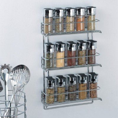 Organize It All 3-Tier Wall-Mounted Spice Rack - Chrome (1812) Image