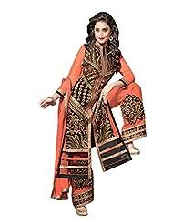 Trendz Apparels Orange 60 Gm Georgette Straight Cut Salwar Suit - B012I8SQS4