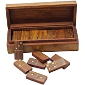 Double Six Domino Wooden Tiles Game 28 Spinners And Brass Inlay Storage Box, Set Of 4