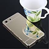 Metal Bumper Plastic Mirror Gold Back Cover Case For Sony Xperia M5- Gold