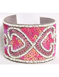 Sequined Pink And White Leather Bracelet - Sequins And Beads On Leather
