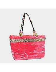 Arisha Kreation Co Women/ Girl Hand Made Hand Bag (Peach/ Pink)