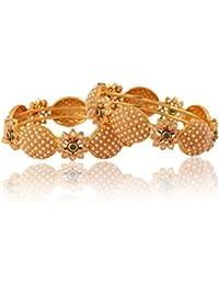 Adwitiya 24k Gold Plated Rich Pearl And Shining Stone Studded Beautiful Traditional Bangle Set For Womens