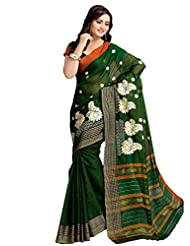 Shonaya Green Colour Embroidered Cotton Saree With Unstiched Blouse Piece