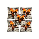 Rajrang White, Orange Cotton Digital Printed Cushion Cover Set Of 5 Pcs #Ccs05824
