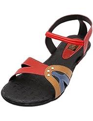 Gujarat Charmudyog Bhandar Women's Red With Black Leather Sandal 6 UK