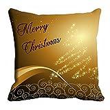 MeSleep Brown Merry Christmas Cushion Cover (16x16)