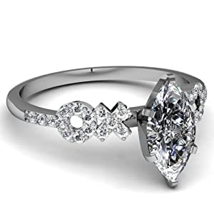 Engagement Ring Pave Set 1 Ct Marquise Cut Diamond SI1-D Color GIA Certificate # 2156013226