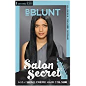 BBLUNT Salon Secret High Shine Creme Hair Colour, Natural Black 1, 100g With Shine Tonic, 8ml