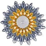 Ishu's Creation Wax, Quelling Paper & Pearls Decorative Tealight Candle (8 Cm X 8 Cm 2 Cm, Multi, Ish10_1,)