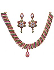 Handmade Pearl Ruby & Emerald Color Stone Studded Necklace & Earrings Set