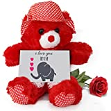 TiedRibbons® Gift For Girlfriend Teddy Bear With Valentine's Special Greeting Card And Red Rose