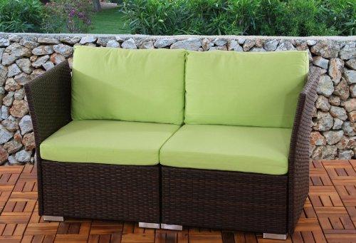 2er Sofa 2-Sitzer Siena Poly-Rattan, Gastronomie-Qualität ~ braun mit Kissen in hellgrün