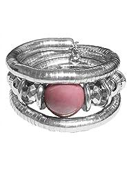 DollsofIndia Metal Spring Bracelet With Pink Stone - Metal - White
