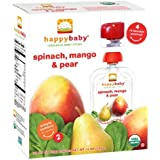 Happy Baby Organic Stage 2 Baby Food, Spinach, Mango & Pear 4 Ea