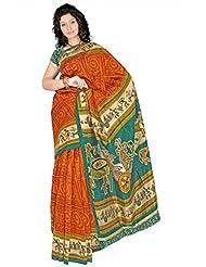 Araham Printed Art Silk Saree With Blouse - B00L4XYQCK